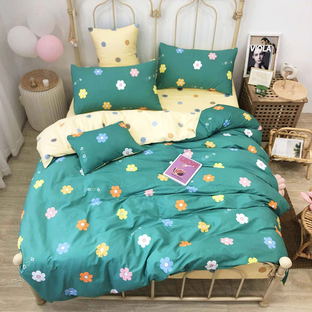 2019 INS Colorful Flowers Green Bedlinens Twin Queen Size Duvet Cover Set Kids Children Bedding Set Cotton Bedsheet Bedspread