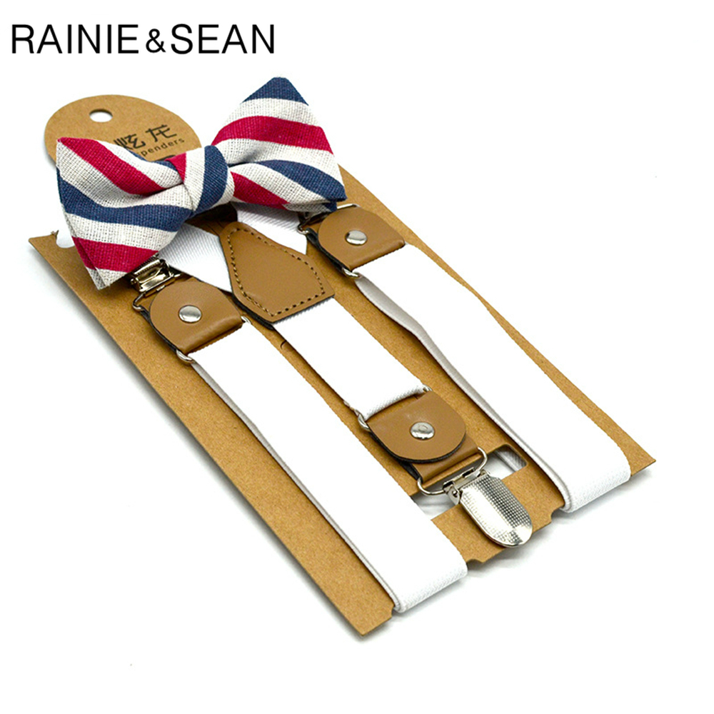 RAINIE SEAN White Kids Suspenders Dress Baby Boy Suspenders Bowtie Suit Solid British Wedding Vintage Children Braces 65cm*2.5cm