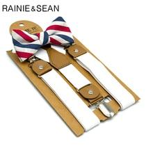 RAINIE SEAN White Kids Suspenders Dress Baby Boy Bowtie Suit Solid British Wedding Vintage Children Braces 65cm*2.5cm