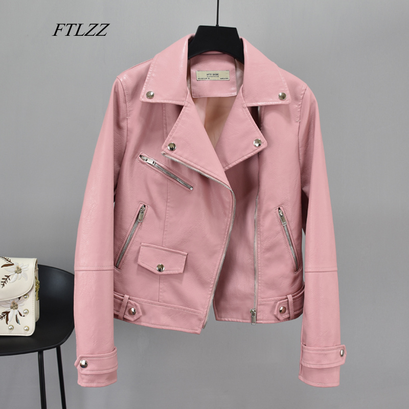 FTLZZ Faux Pu Soft Leather Basic Jackets Women Short Coat Female Turndown Collar Zipper Motorcycle Jacket Pink Black Outerwear