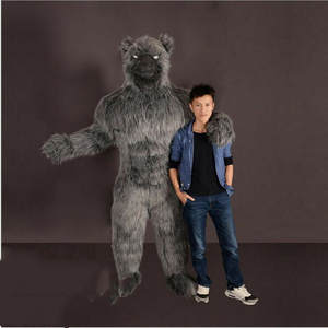 ADS Long Fur Werewolf Inflatable Mascot Costume Black Wolf Party Game Dress Xmas