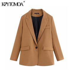 Винтажные стильные офисные женские блейзеры с карманами, пальто для женщин 2020, модная верхняя одежда с длинным рукавом и зубчатым воротнико...