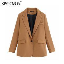 Женский офисный пиджак с карманами, винтажный стильный пиджак с отложным воротником и длинным рукавом, повседневная верхняя одежда, 2020
