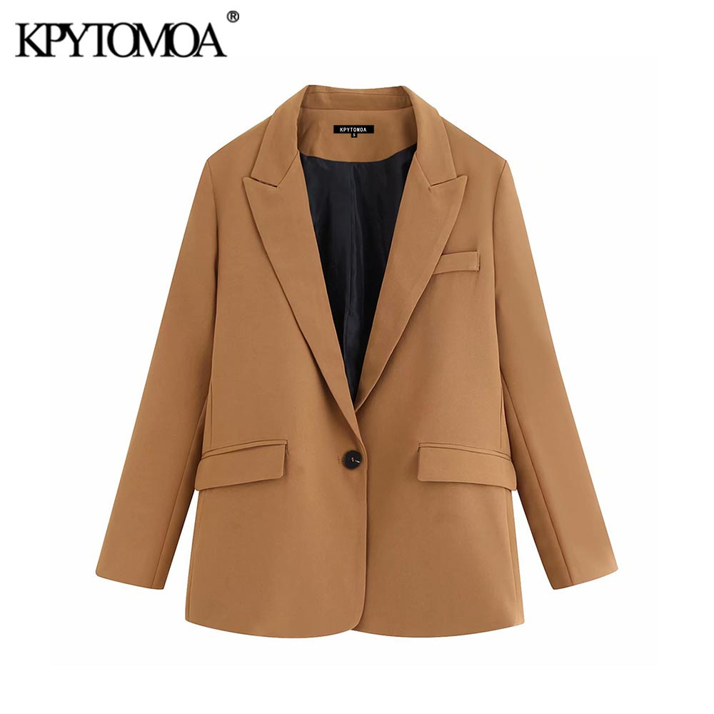Vintage Stylish Pockets Office Lady Blazers Coat Women 2020 Fashion Notched Collar Long Sleeve Outerwear Casual Chaqueta Mujer