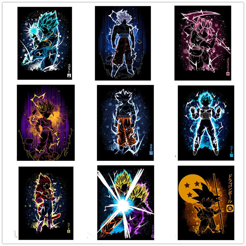 Frameless Japanese anime Poster Canvas Big Wall Art Painting Poster Goku Anime Poster Boys living room home decoration painting