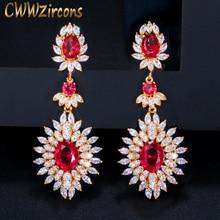 CWWZircons צהוב זהב צבע הודי אדום CZ קריסטל בציר אתני כלה ארוך גדול חתונה עגילי תכשיטי לנשים CZ301