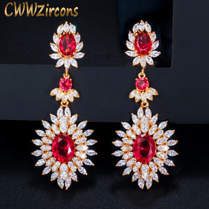 Image 1 - CWWZircons Yellow Gold Color Indian Red CZ Crystal Vintage Ethnic Bridal Long Big Wedding Earrings Jewelry for Women CZ301