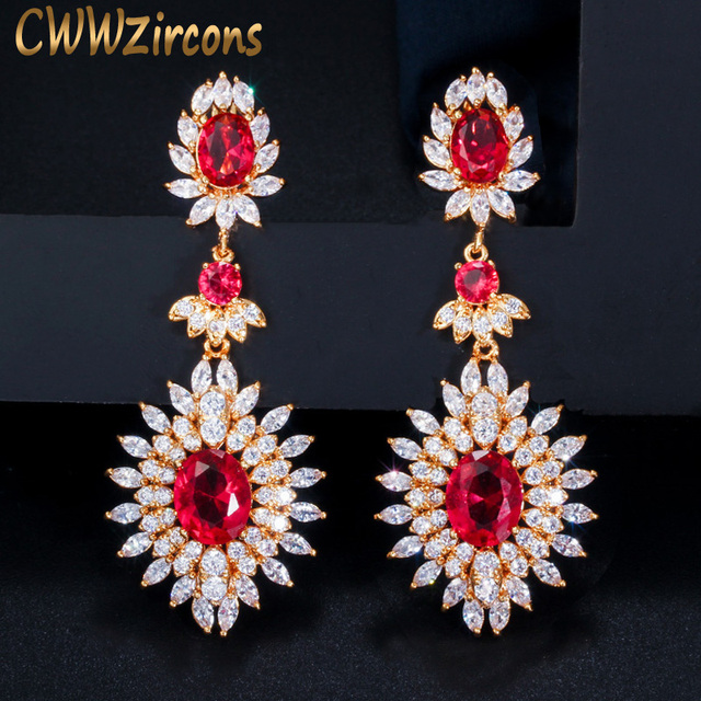 CWWZircons Yellow Gold Color Indian Red CZ Crystal Vintage Ethnic Bridal Long Big Wedding Earrings Jewelry for Women CZ301