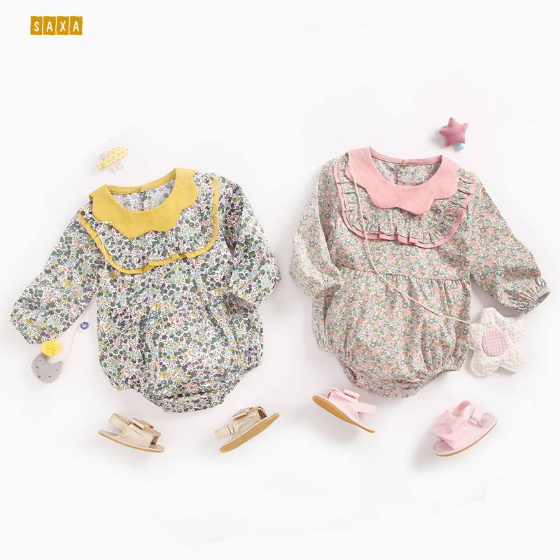 Baby Briefs Romper Broken Flowers Autumn And Winter Clothes Long Sleeves Spring And Autumn Jumpsuit Petal Collar Newborn Romper