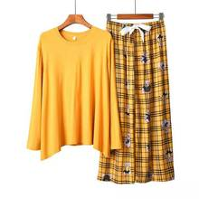 Suit Pajama-Set Nightwear Long-Sleeve Female Women 2PCS Mujer for Printed Loose Breathable