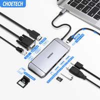 CHOETECH 9in1 HUB USB C HUB per Multi USB 3.0 HDMI VGA SD/TF Card Reader Adattatore per MacBook pro Splitter Porta USB 3.0 Tipo C HUB