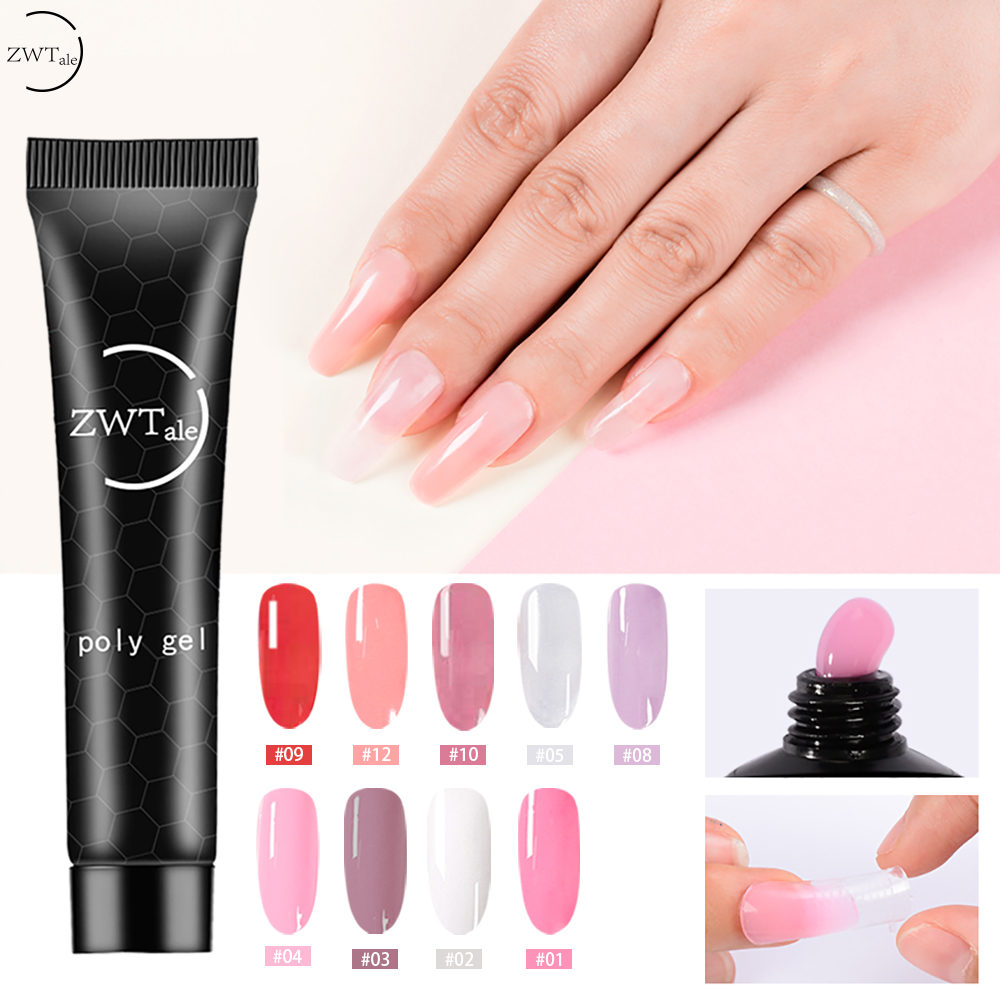 ZWTale Nail Art Poly Gel French Constraction Builder Jelly Acrylic Slip solutions Clearnser Plus Remover