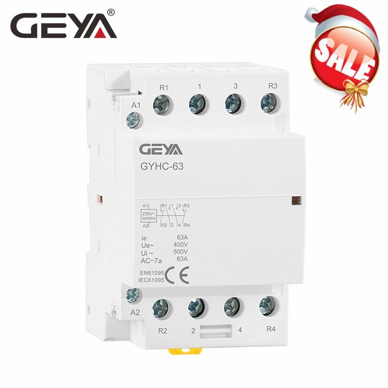 63A Din Rail AC Contactor 2 Pole 220V//230V Coil Din Rail Mount AC Contactor 1NO 1NC 50//60HZ 220V//230V