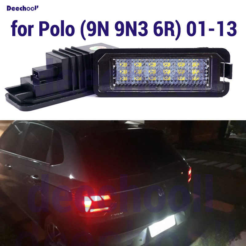 2 X أبيض نقي 18SMD 2835 Canbus طقم مصابيح لوحة ترخيص السيارة لفولكس واجن لشركة فولكس فاجن بولو 9N 9N3 6R 2001-2013 رقم لوحة ضوء