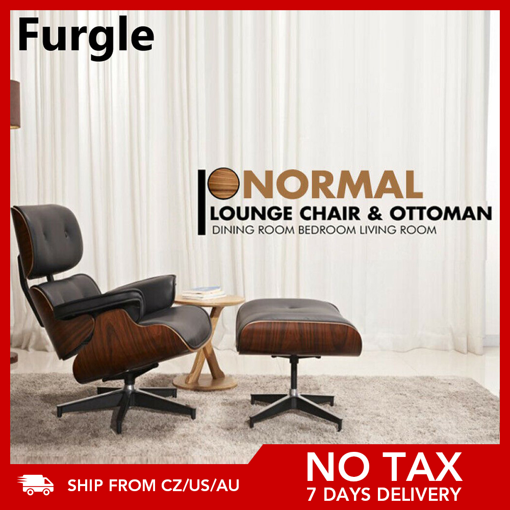 Furgle Mid-Century Lounge Chair&Ottoman Premium Quality Real Leather wood Reproduction Style Sofa for Living/Dining Room Bedroom