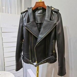 Роскошная брендовая куртка из натуральной кожи, женская куртка из натуральной овечьей кожи 2020, осенне-зимняя тонкая Уличная Повседневная В...
