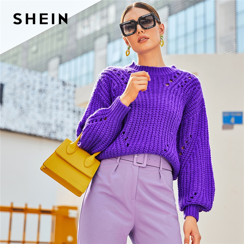 SHEIN Purple Drop Shoulder Pointelle Chunky Knit Sweater Women Tops Autumn Winter Solid Bishop Sleeve O Neck Casual Sweaters 1