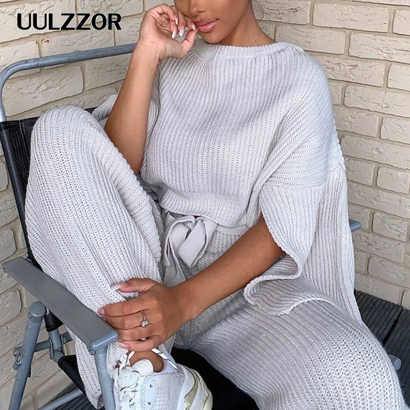 UULZZOR Knitted 2 Piece Set Women Sweater Sets Long Sleeve Crop Tops And Long Pants Sexy Winter Sweater Two Piece Set Outfits