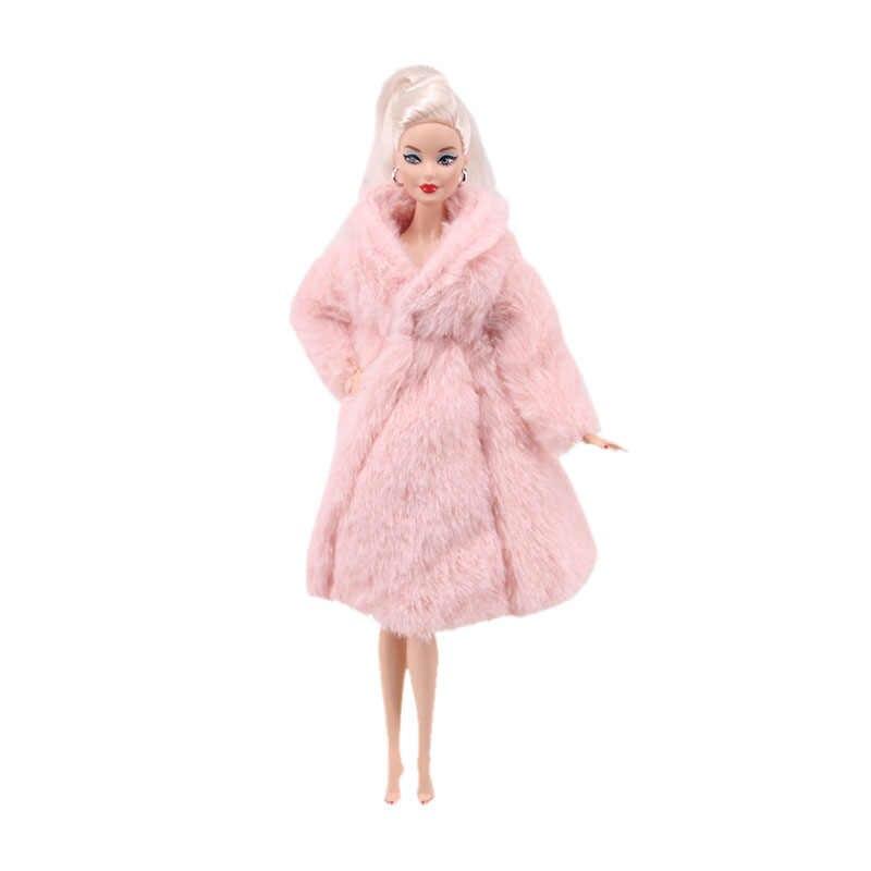 1 セットバービー長袖ソフト育つ衣装フランネルコートミニパジャマローブ人形アクセサリーはカジュアルウェア女の子のギフト