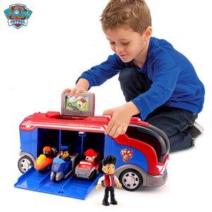 Image 1 - Serie di cani di pattuglia della zampa Set Bus squadra di salvataggio Toy Car Patrulla Canina Action Figure Toy Model bambini regalo di compleanno di natale