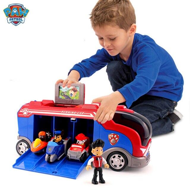 Serie di cani di pattuglia della zampa Set Bus squadra di salvataggio Toy Car Patrulla Canina Action Figure Toy Model bambini regalo di compleanno di natale