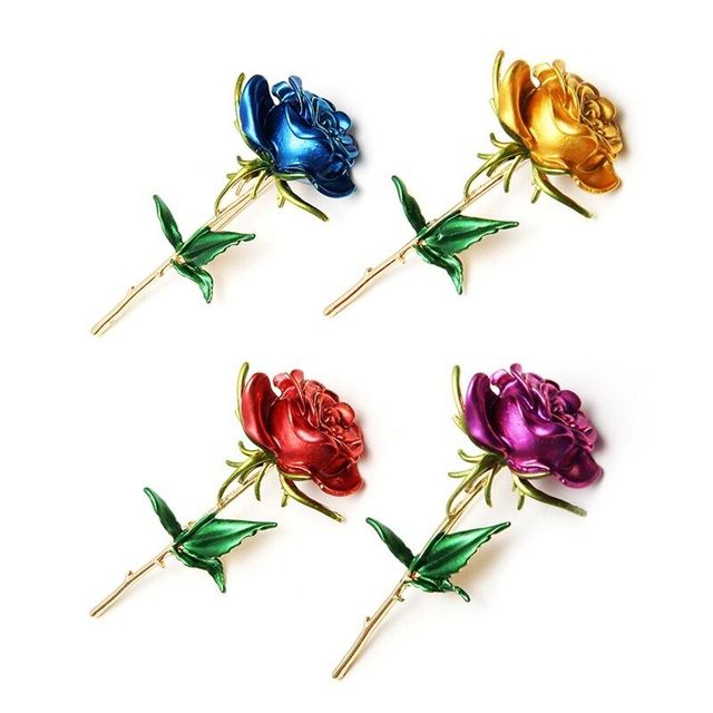 Wuli&baby Classic Enamel Rose Flower Brooches For Women Alloy 4-color Rose Flower Weddings Office Casual Brooch Pins Gifts 3
