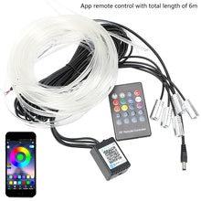 LEEPEE-tira de luces LED con Control remoto para Interior de coche, luz decorativa RGB Flexible, cable EL, lámpara de ambiente para coche