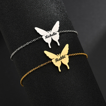 Acheerup Fashion Engrave Letter Stainless Steel Bracelets For Women Custom Butterfly Pendant Personalized Silver Jewelry Gifts