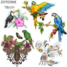 Zotoone Ijzer Op Papegaai Patches Voor T-shirt Print Vogels Stickers Voor Kids Heat Transfers Thermo Patch Voor Kleding Geappliceerd F(China)