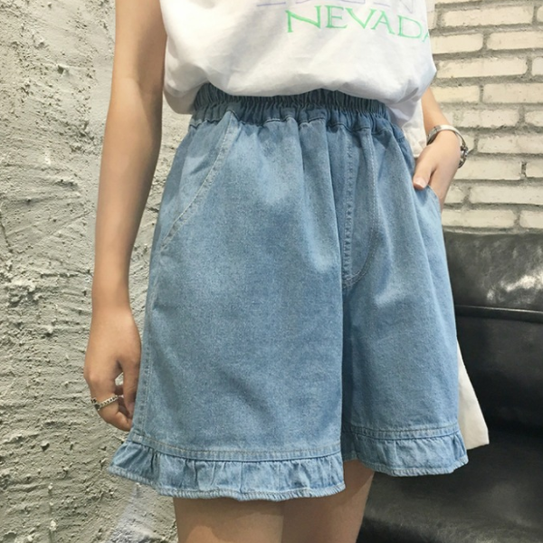 Plus Ukuran 5XL 2020 Wanita Musim Panas Celana Pendek Jeans High Waist dengan Kantong Lurus Celana Jeans Biru Elastis Pinggang Celana AQ172