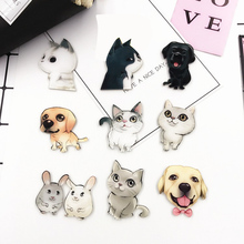 PGY Acrylic Animal Kawaii Cat Brooch Dog Hamster Brooch for Women Pin Badges Fashion Dress Children's jacket Coat Accessories
