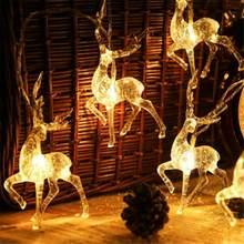1.2/5m luz da corda 10/20/40 led sika veado string dia de natal elk-em forma de veado decoração de natal luz