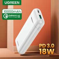Ugreen power bank 10000 mah carregamento portátil carga rápida 3.0 pd carregador para xiaoimi 8 bateria externa carregador de telefone poverbank