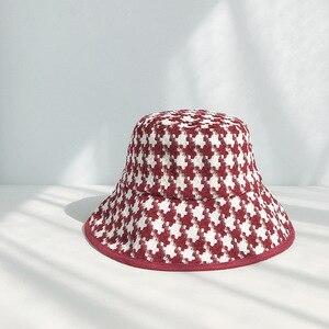 Image 4 - USPOP אביב סתיו כובעי נשים שחור לבן משובץ כובעי נקבה טוויד משובץ דלי כובעים