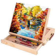Folding Easel Portable Miniature Desk Easel Multifunction Painting Easel Artist Desk Watercolor Oil Painting Art Supplies