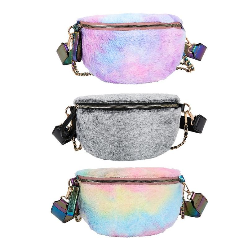 Fashion Plush Fanny Waist Bag Women Chest Pack Semicircle Zip Crossbody Bag