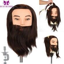 Tête de poupée de Mannequin pour Salon de coiffure, 100% cheveux réels, barbe masculine d'entraînement pour couper la tête de perruque