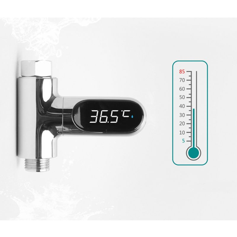 LED Display Water Flow Temperature Meter Monitor Electricity Shower Thermometer 360 Degrees Rotation for Baby