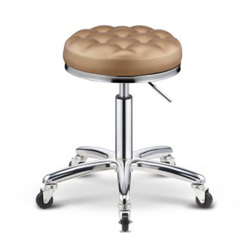 PU Bar Chair Lift Beauty  Rotation Barber  With Safety Pneumatic Rod  High Strength Nylon Iron Wheel