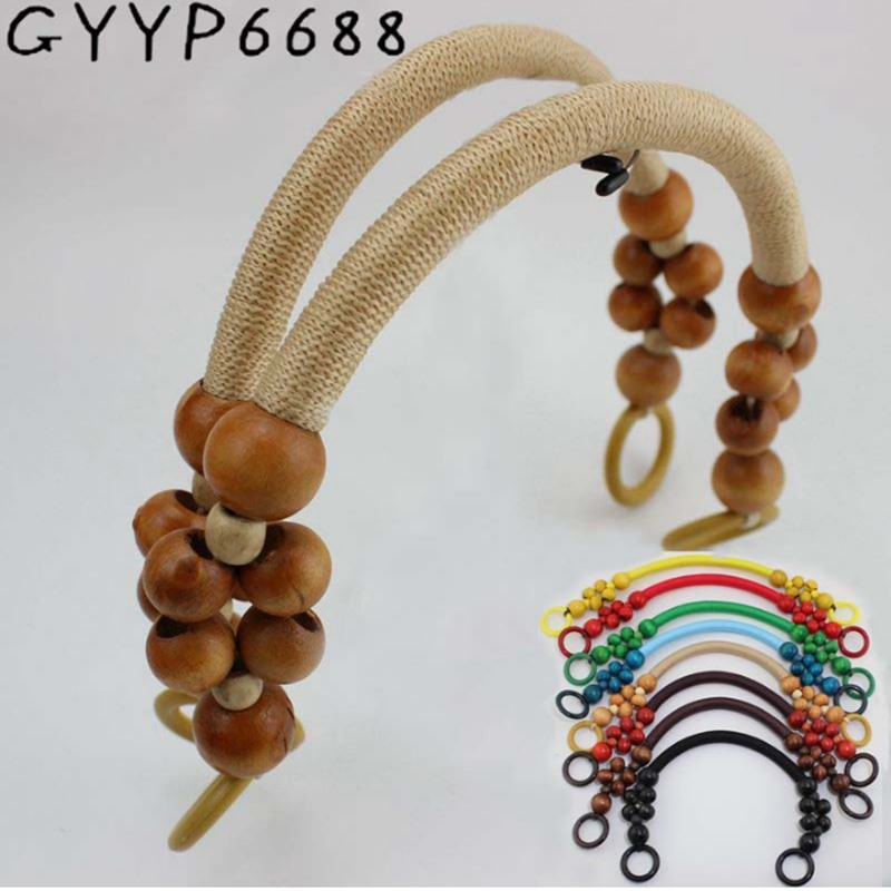 2pcs 30pcs Fashion Support Mixed 9Colors Wooden Beads Rope Handles For Handmade Bags Factory Sell Fashion Bead Rope Bag Handle
