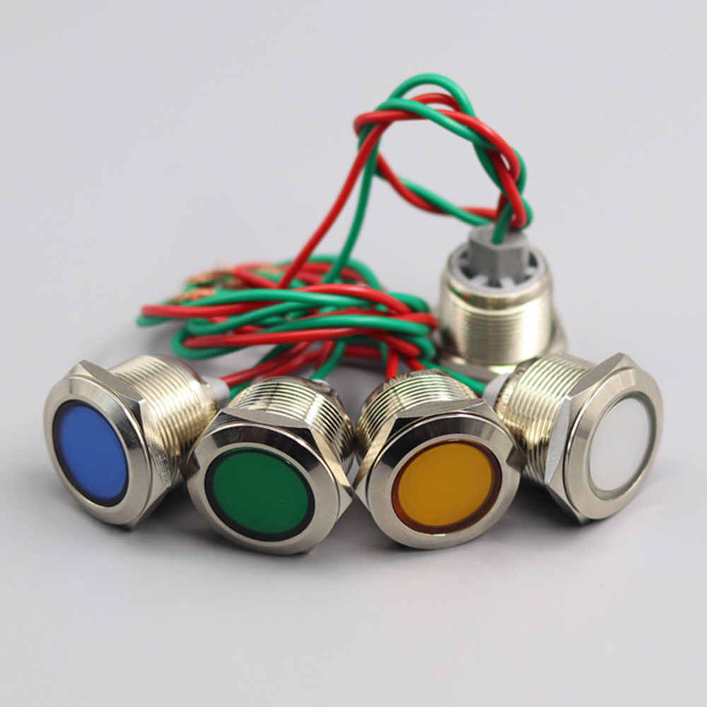 4 pzs 12V Luz indicadora de tablero universal Luces indicadoras de panel LED L/ámpara de bombillas LED de tablero para autom/óviles Van Trucks Barcos Luz piloto LED de 8 mm Amarillo