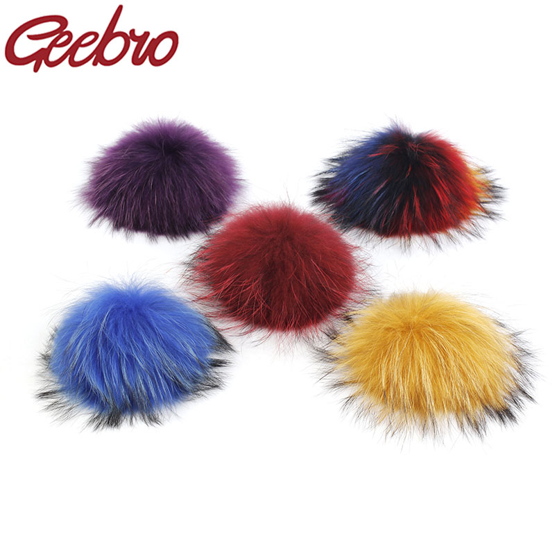 Geebro 5pcs/ Lot Diy 15cm Colorful Real Raccoon Fur Pompoms Fur Balls For Knitted Beanies And Scarves Dyed Real Fur Pom Pom