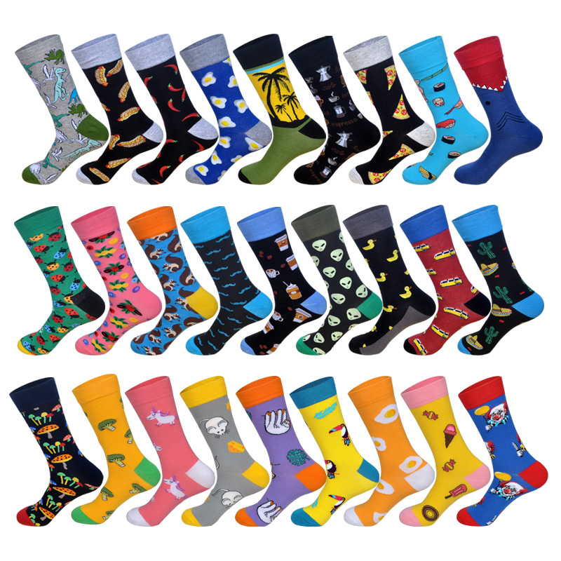 Lionzone 2019 Newly Men Socks Cotton Casual Personality Design Hip Hop Streetwear Streetwear title=
