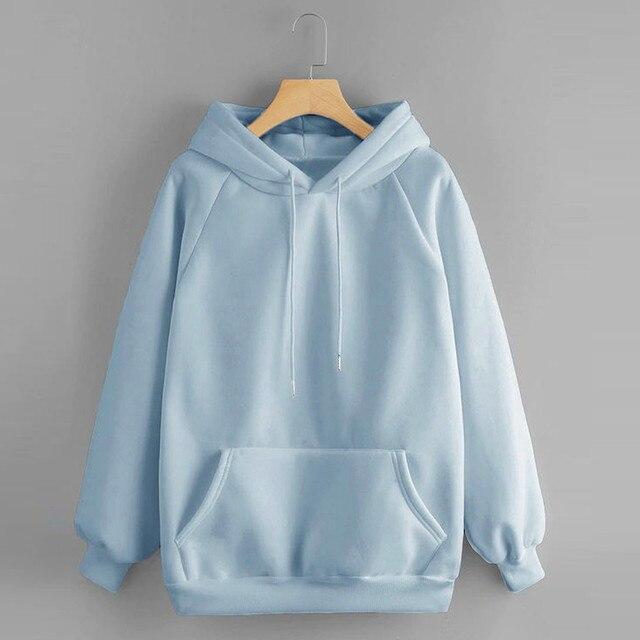Hoodies Women Yellow Sweatshirt solid sweet Casual Hooded Autumn winter Long Sleeve Pullover Pocket Jumper sportswear moletom 3