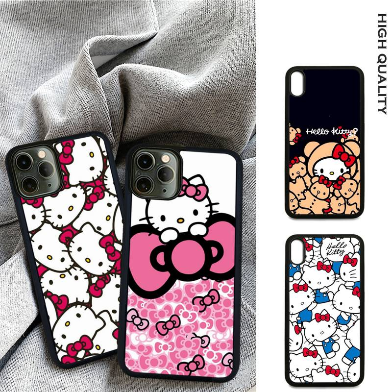 Cute Hellos Kitties Luxury Soft TPU Hard PC Phone Case Cover For Samsung S9 S10 S20 Plus S21 S30 Ultra S7 S8 S10e Note 9 20
