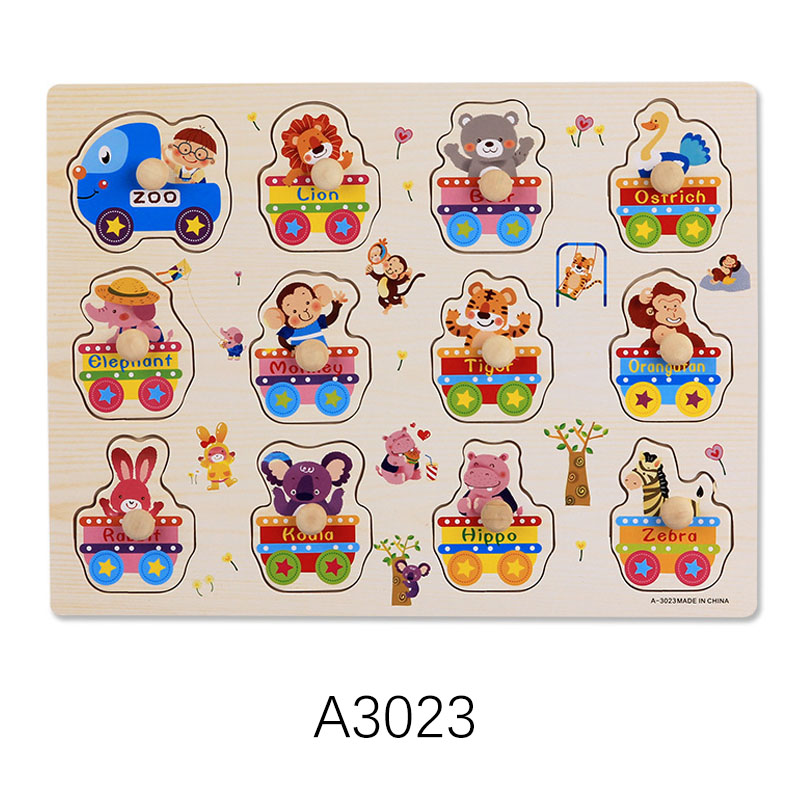 Montessori Wooden Puzzles Hand Grab Boards Toys Tangram Jigsaw Baby Educational Toys Cartoon Vehicle Animals Fruits 3D Puzzles 9