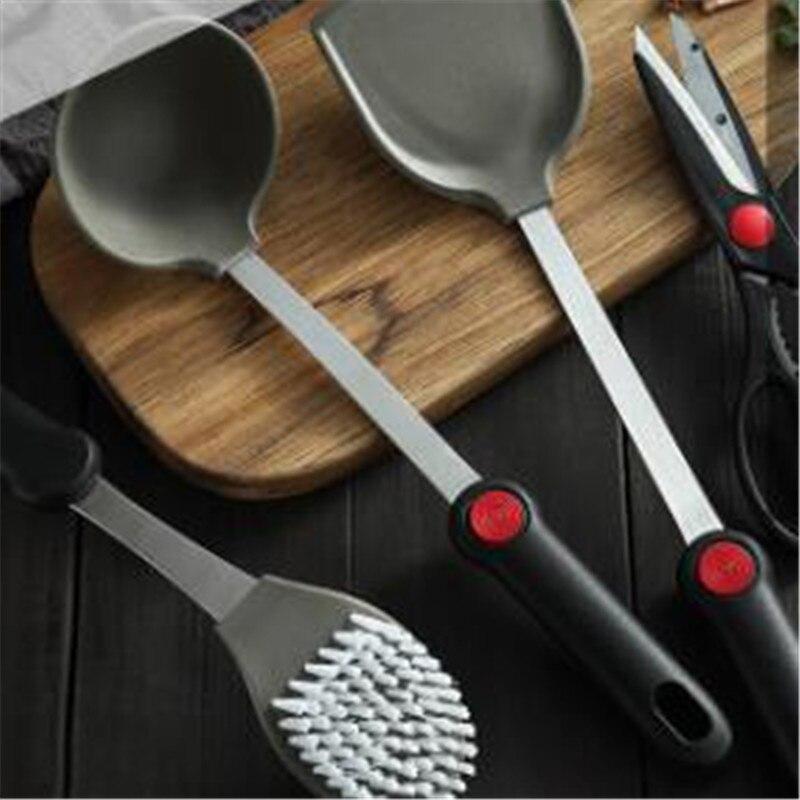 1pc antiaderente flexível silicone panqueca turner silicone cozinhar espátula alça de aço inoxidável wok pá cozinha cozinhar