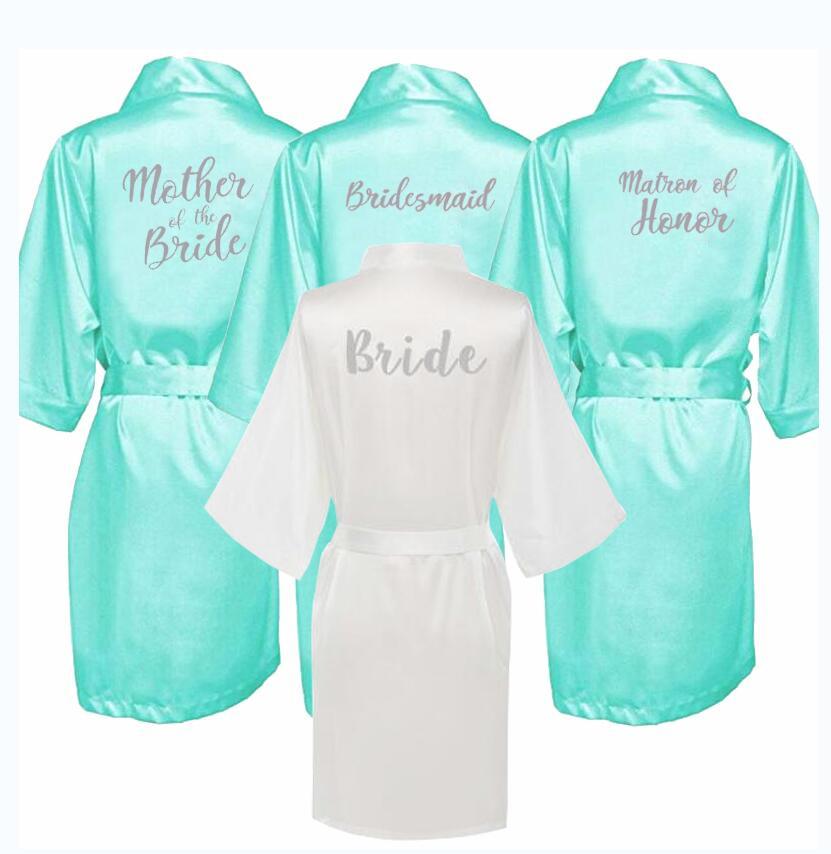 Kimono di seta di raso Accappatoio Vestaglia Matrimonio Damigella D/'onore pigiameria accappatoio-NUOVO