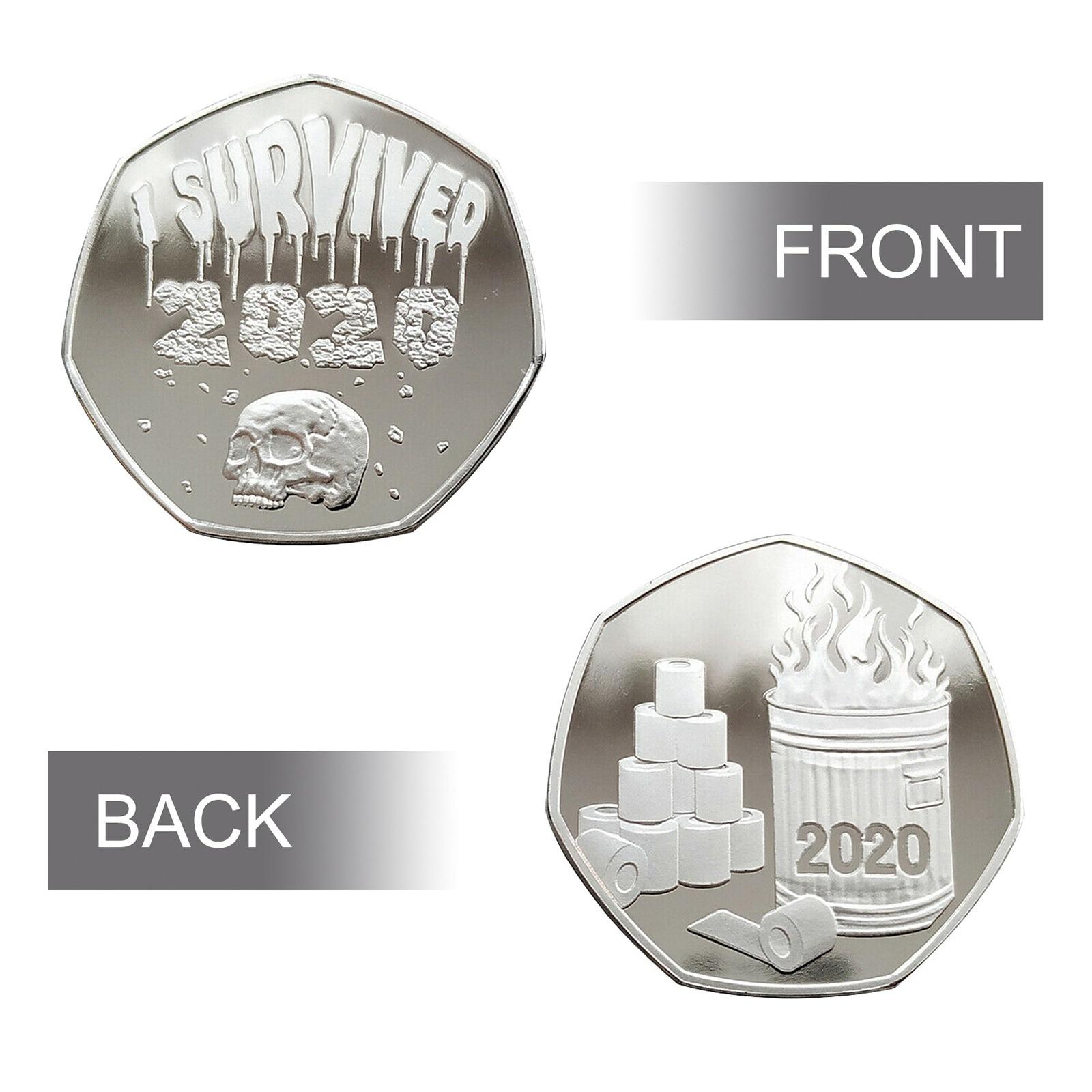 Памятные монеты с рисунком черепа, 2020 монет для торжественных событий, значок «Я пережила», 2020 монет для друзей и семьи, креативные подарки