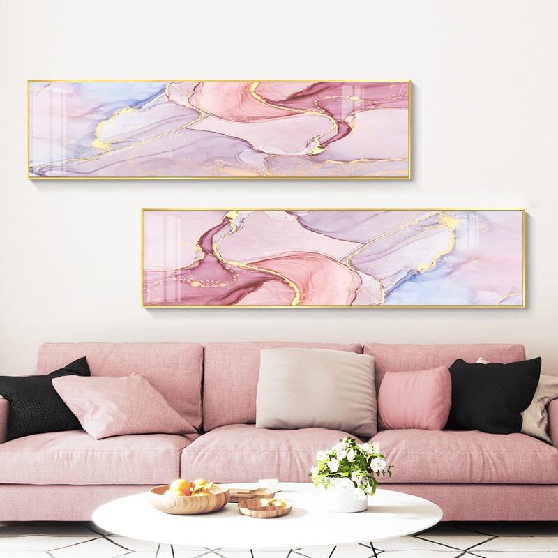 Nórdico abstrato folha de ouro arte da parede posters da lona quadros aquarela rosa verde sala morden impressão sem moldura cartaz